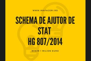 Schema de Ajutor de stat HG 807/2014 - Minim 1 Milion Euro